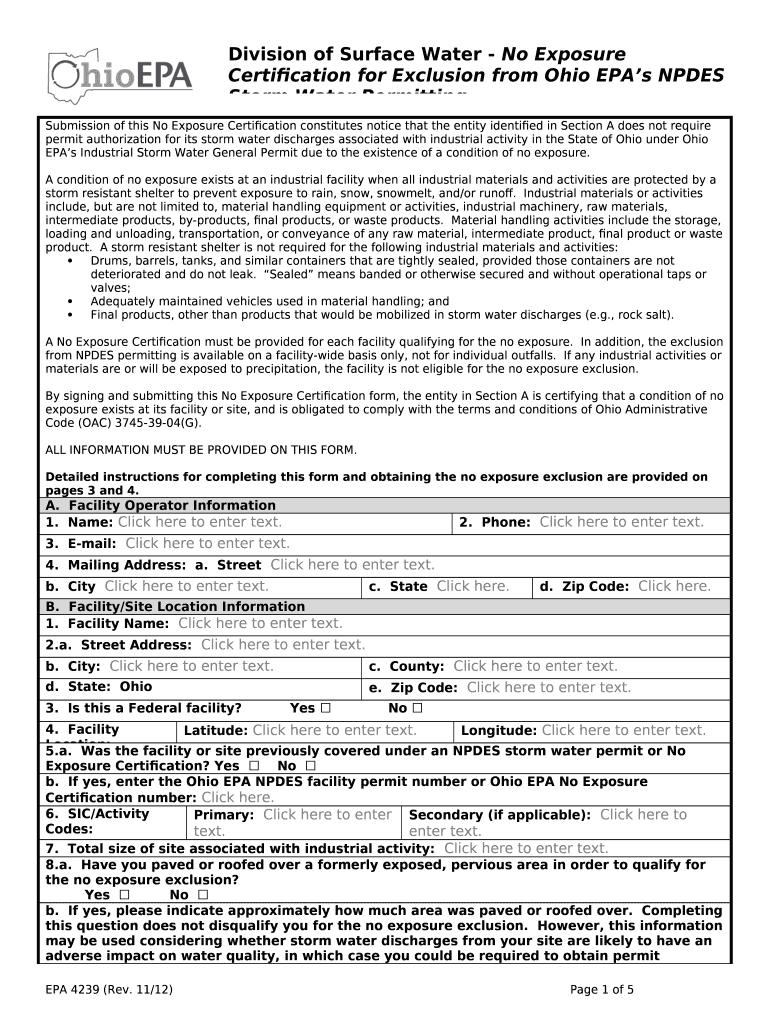 Submission of this No Exposure Certification constitutes notice that
