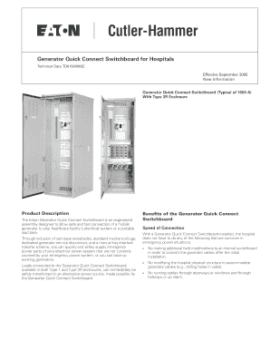 Generator Quick Connect Switchboard For Hospitals