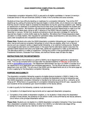 Dissertation completion grant harvard gsas