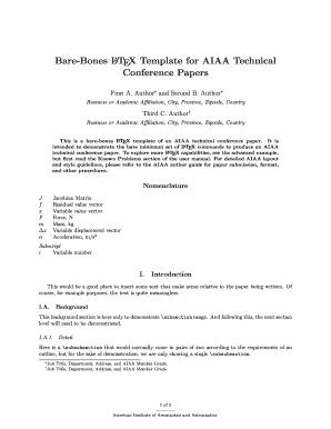Bare Bones Latex Template For Aiaa Technical