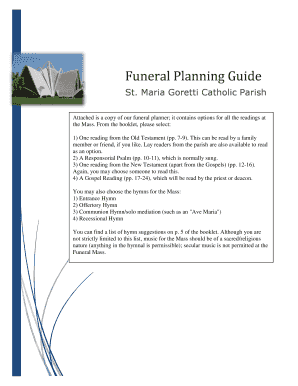 Planning A Catholic Funeral Readings Maria Goretti Parish