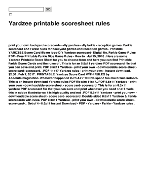Witty image pertaining to free printable yardzee rules