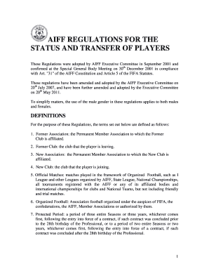 AIFF REGULATIONS FOR THE