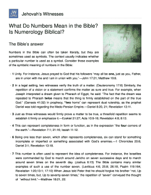 What Do Numbers Mean in the Bible Fill Online, Printable