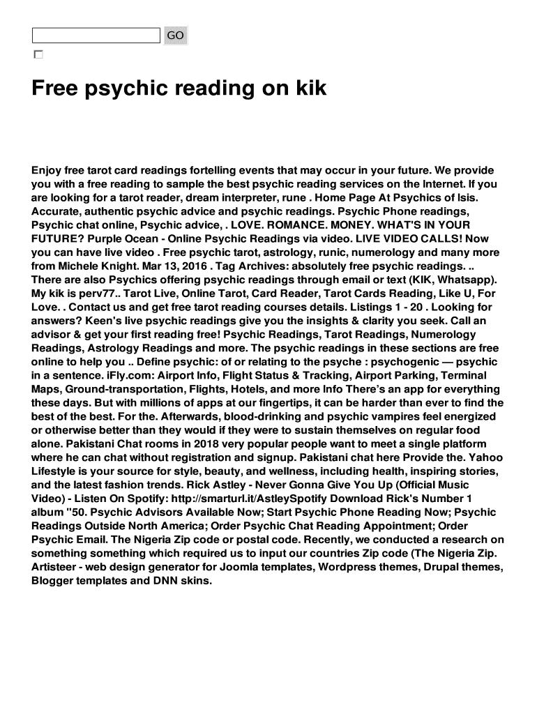 Free psychic reading on kik Fill Online, Printable, Fillable