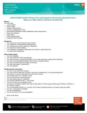 editable ahaacsm health screening questionnaire fillable