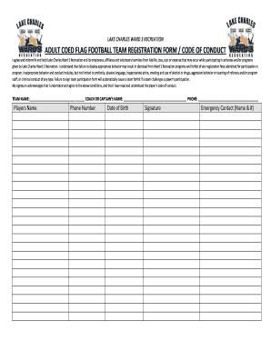 Football Team Registration Form Edit Fill Out Online Templates