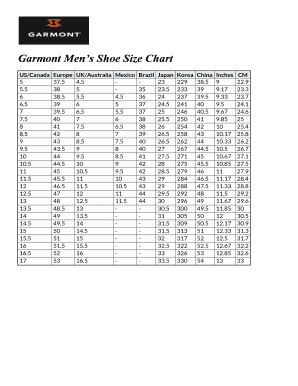 image relating to Printable Shoe Size Chart Men called Garmont Mens Shoe Sizing Chart Fill On the internet, Printable