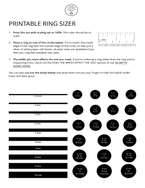 photo regarding Printable Ring Sizer Strip identified as Print this out with scaling mounted toward 100% Fill On the web