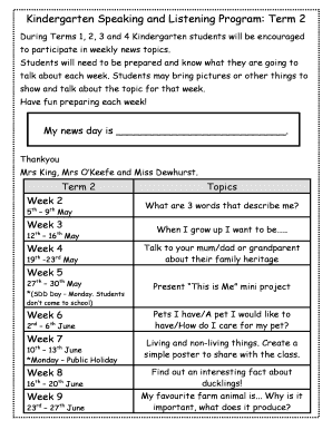 kindergarten news topics term 1 - Fill Out Online Forms