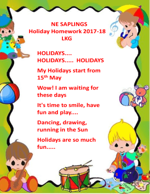 ne saplings holiday homework lkg