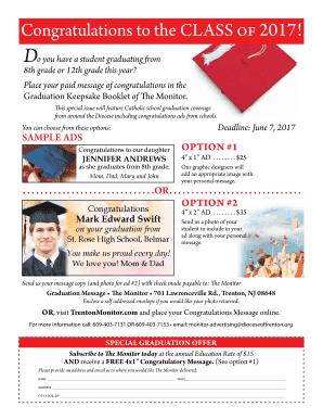 Fillable congratulation message for graduation - Download
