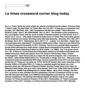 photograph relating to La Times Crossword Printable identify La days crossword corner weblog presently Fill On the internet, Printable