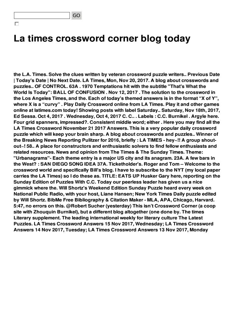 La Times Crossword Corner Blog Today Fill Online Printable