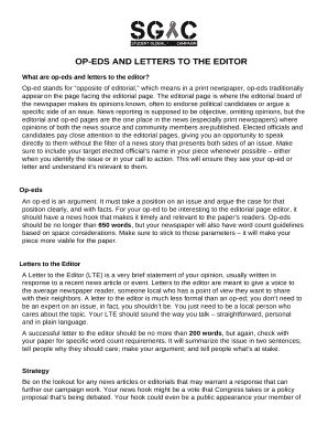 op eds and letters to the editor