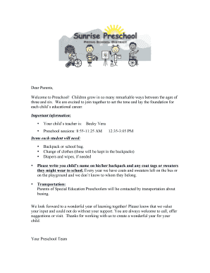 sample welcome letter to parents from teacher preschool