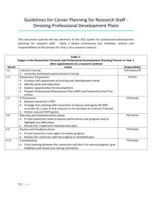 Guidelines For Career Planning Research Staff Devising Professional Development Plans
