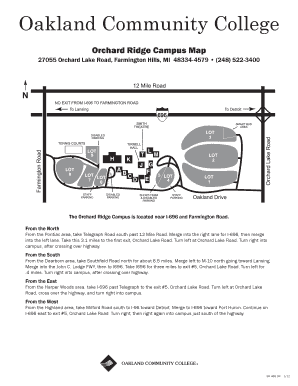 Occ Southfield Campus Map.Fillable Online Orchard Ridge Campus Map Fax Email Print Pdffiller