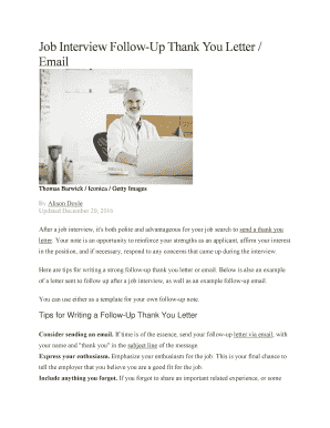 Editable Thank You Letter After Interview Microsoft Template Fill