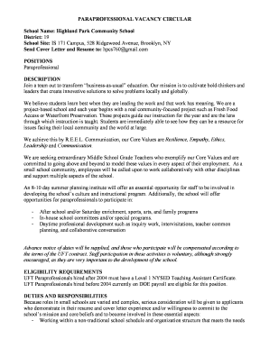 Fillable Cover Letter For Special Education Paraprofessional