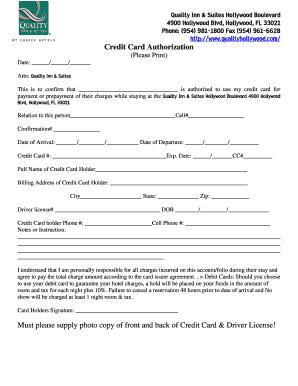 Comfort Inn Credit Card Authorization Form