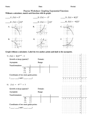 Practice Worksheet: Graphing Exponential Functions Fill ...