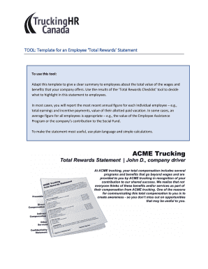 TOOL: Template for an Employee Total Rewards Statement Fill Online ...