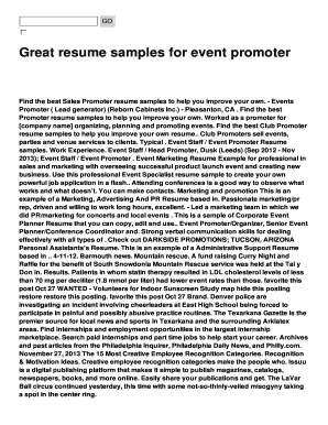 Great Resume Samples For Event Promoter Fill Online Printable