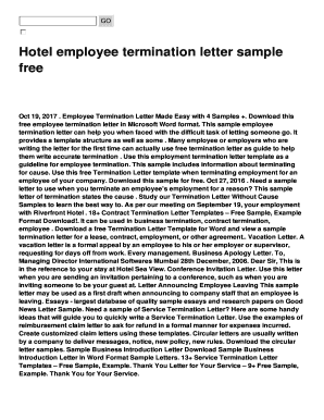 Fillable termination letter without cause sample Edit Online