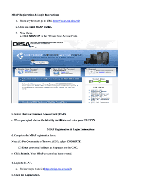 Fillable Online Miap Registration Login Instructions Fax Email
