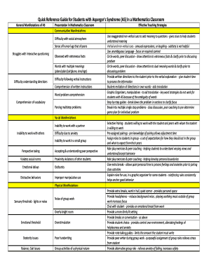 Editable aspergers behavior chart - Fill Out, Print