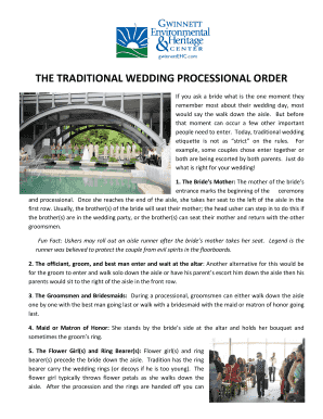 THE TRADITIONAL WEDDING PROCESSIONAL ORDER Fill Online, Printable ...
