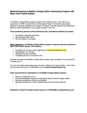 mayo clinic shadowing - Fillable & Printable Online Forms
