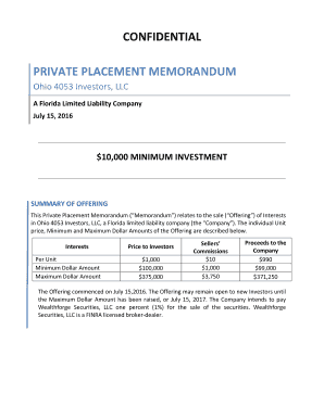 Editable sample private placement memorandum for llc - Fill