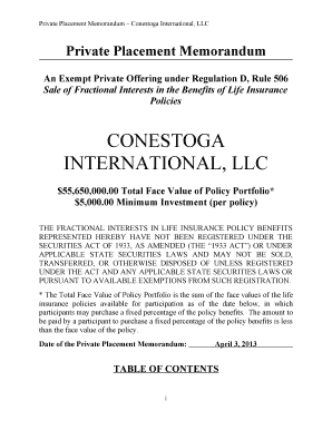 Private Placement Memorandum Conestoga International, LLC