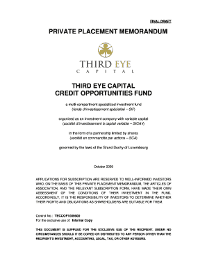 Capital Private Placement Memorandum Pdf