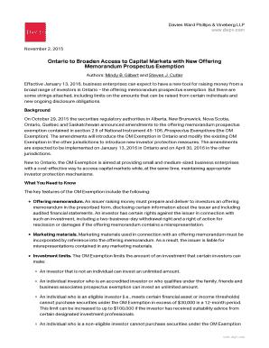 Editable offering memorandum vs prospectus - Fill Out, Print