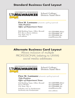 Fillable online standard business card layout fax email print fill online cheaphphosting Gallery