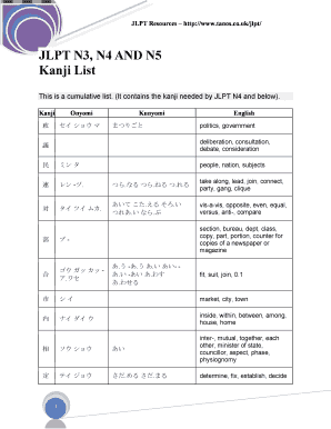 jlpt n5 kanji test pdf to Download - Editable, Fillable & Printable