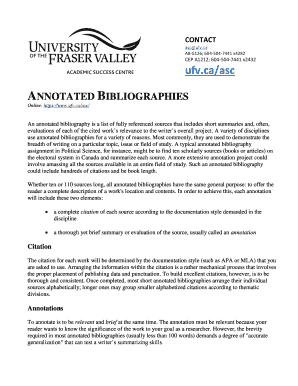 annotated bibliography ufv