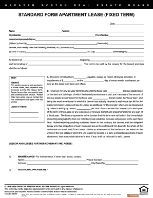 Printable Greater Boston Real Estate Board Standard Form Apartment