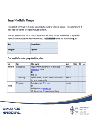 Employee Resignation Handover Checklist