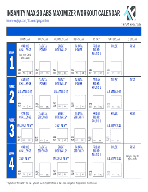 Fillable Online INSANITY MAX:30 ABS MAXIMIZER WORKOUT CALENDAR Fax