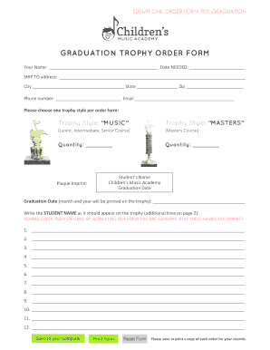 Fillable Online SUBMIT ONE ORDER FORM PER GRADUATION Fax