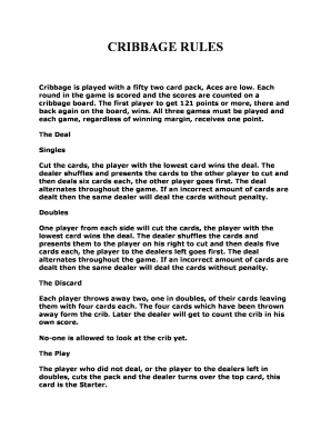 photo about Printable Cribbage Rules named Printable cribbage board template - Edit, Fill Out