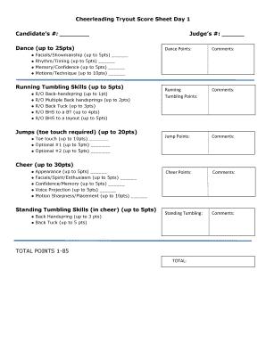 Cheerleading Tryout Score Sheet