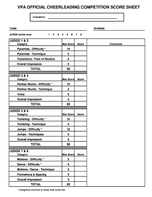 Sample Cheer Leading Tryout Score Sheet | Vpa Official Cheerleading Competition Score Sheet Fill Online