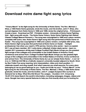 image regarding Fight Song Lyrics Printable identified as mascot tune lyrics - Printable Templates in the direction of Fill Out