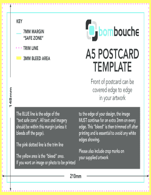 word postcard template 4 per page