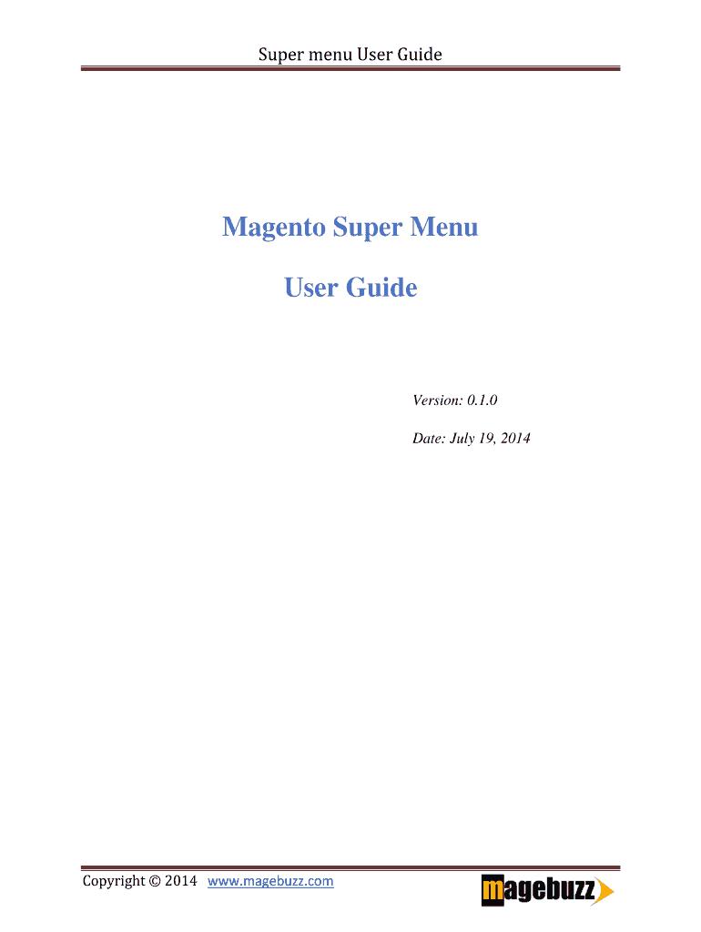 Super menu User Guide Fill Online, Printable, Fillable